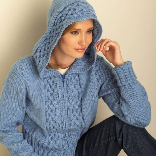 Bernat Cozy Cable Hooded Cardigan By Yarnspirations