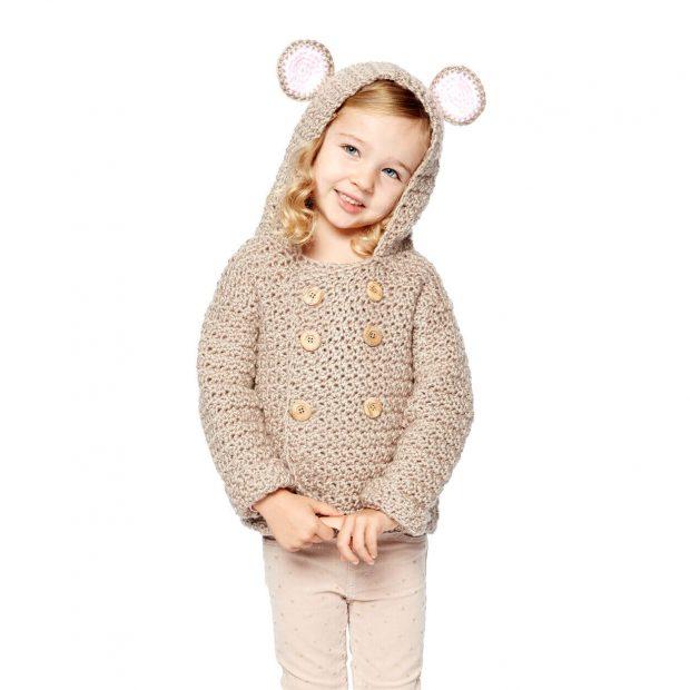 Bernat Mousie Crochet Hoodie Pattern By Yarnspirations