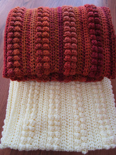 Bobble Stripe Crochet Blanket By KathieSewHappy