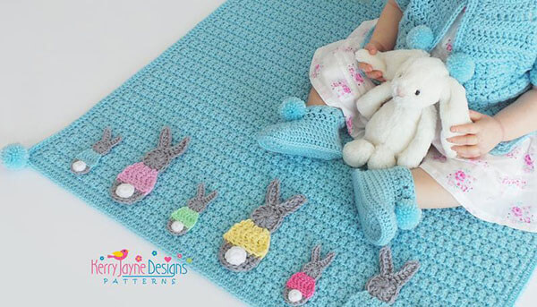Bunny Parade Baby Blanket By KerryJayneDesigns