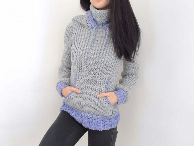 Crochet Cowl Neck Hoodie Pattern By TCDDIY