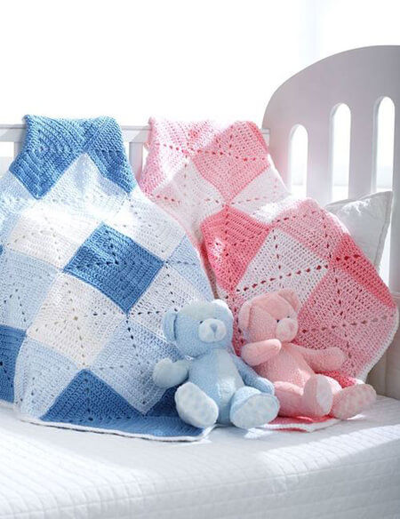 Double Diamond Baby Blanket By AllFreeCrochet