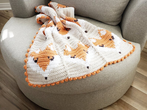 Crochet Fox Baby Blanket By cozynorthwoods