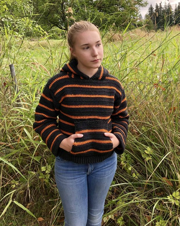 Cozy Campfire Striped Free Crochet Hoodie Pattern From Joy of Motion Crochet