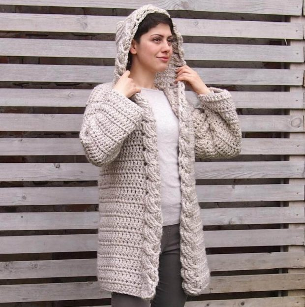 Hooded Cable Women Cardigan By AnaDdesign