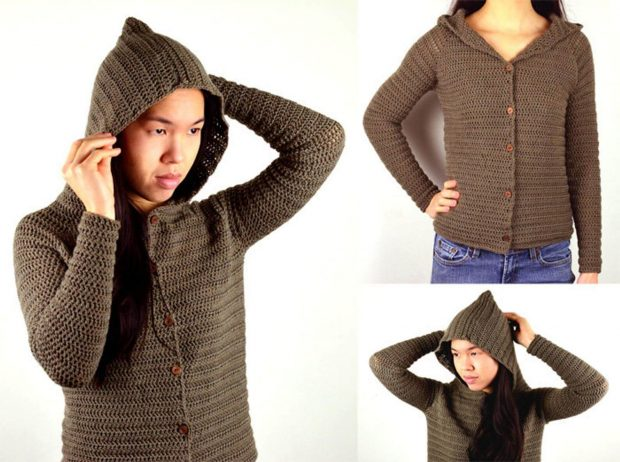 Hooded Cardigan Sweater By CrochetSpotPatterns