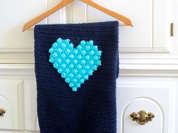 Puff Bobble Heart Baby Boy Blanket By SeacliffeCottage