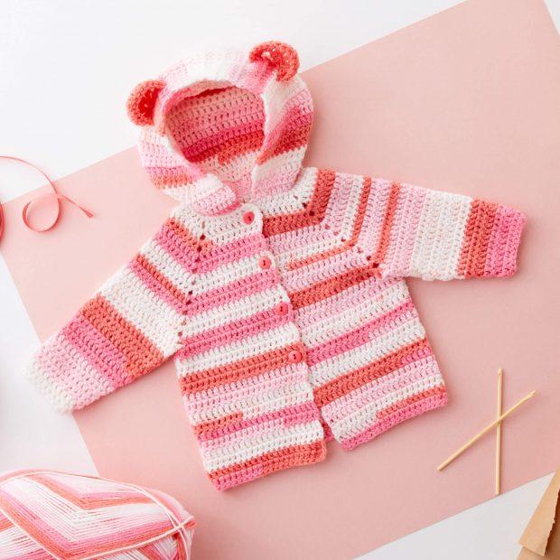 Red Heart Baby Bear Crochet Hoodie Pattern By Yarnspirations