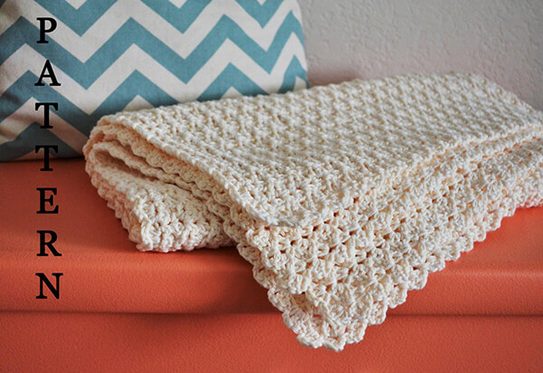 Simple Scallop Crochet Baby Boy Blanket By NannysLegacy