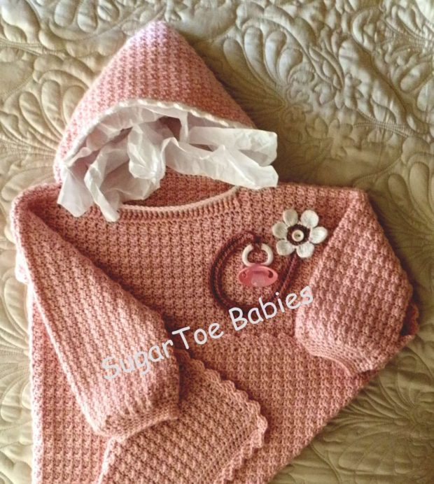 Sittin' Pretty Crochet Hoodie Pattern By SugarToeBabies