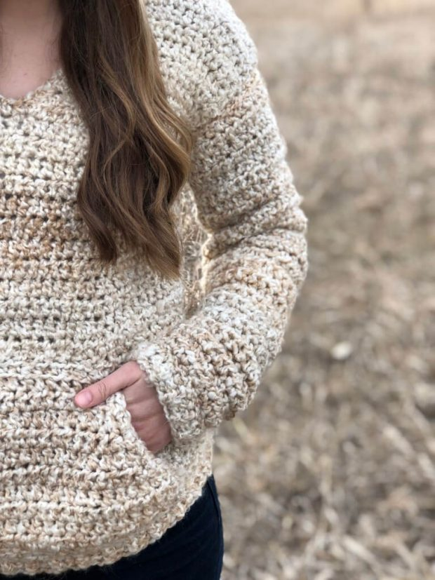 The Butterbeer Pullover Free Crochet Hoodie Pattern By Evelyn and Peter Crochet