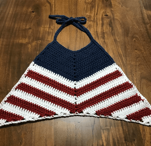 America Flag Crochet Halter Top Pattern by Taylor Lynn Crochet