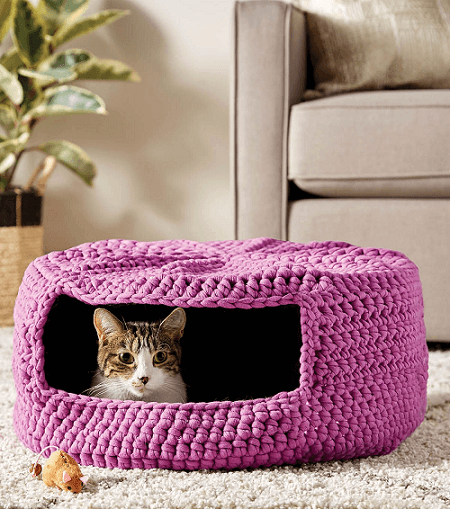 Cat Bed Crochet Pattern by Joann