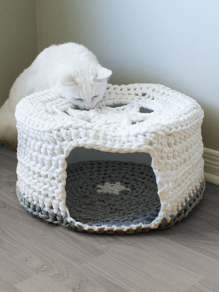 Cat Bed Crochet Pattern by Mid Knits