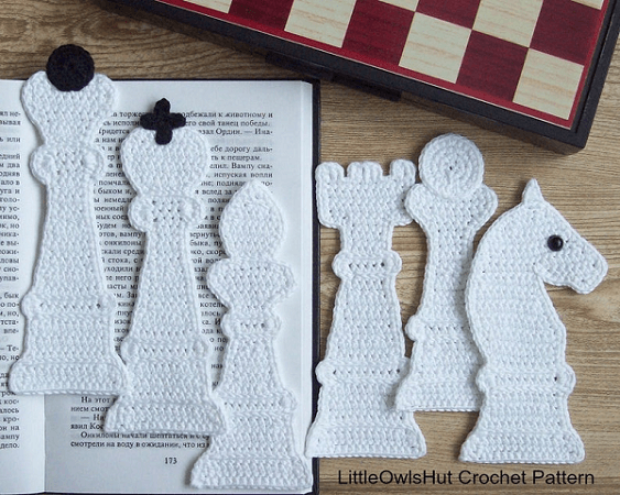 Chess Bookmarks Crochet Pattern by Little Owls Hut