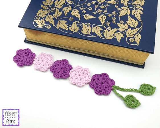 Crochet Botanical Bookmark Pattern by Fiber Flux