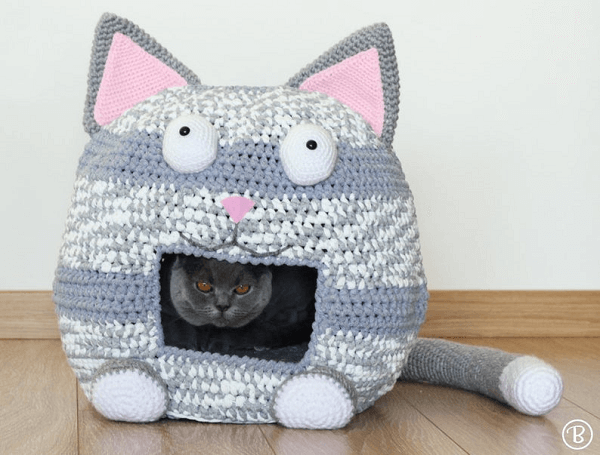 Crochet Cat Bed Cave Pattern by Buddy Rumi