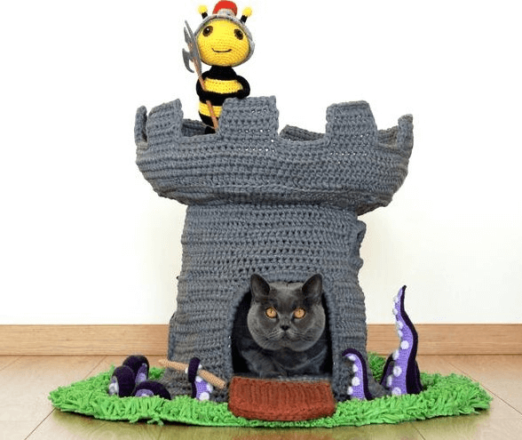 Crochet Cat Castle House Pattern by Buddy Rumi