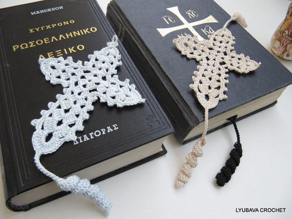 Crochet Cross Bookmark Pattern by Lyubava Crochet