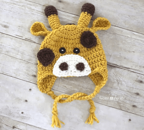 Crochet Giraffe Hat Pattern by Repeat Crafter Me