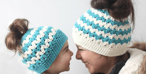 Crochet Messy Bun Hats Pattern by Repeat Crafter Me