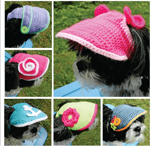 Crochet Dog Visor Hat Pattern For Small Dogs by Dee Fine Boutique