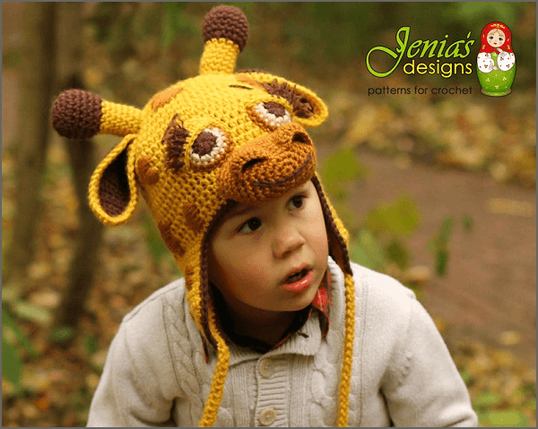 Giraffe Animal Hat Crochet Pattern by Jenia's Designs