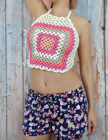 Granny Square Halter Top Crochet Pattern by Beautiful Crochet Stuff