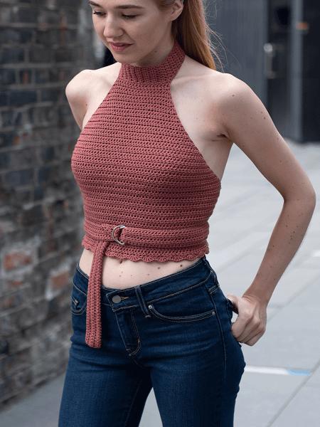 Halter Neck Crochet Top Pattern by The Hook Nook Life