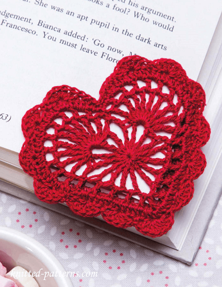 Heart Bookmark Crochet Pattern by Knitted Patterns