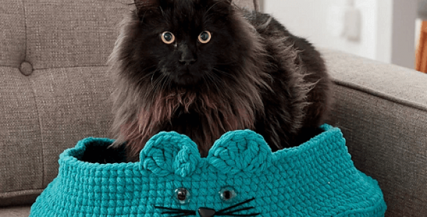 Kitten Ears Pet Bed Crochet Pattern by Yarnspirations