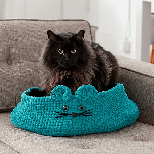 Kitten Ears Pet Bed Crochet Pattern by Yarnspirations