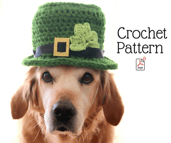 Leprechaun Hat Crochet Pattern For M-L Dogs by Pawsome Crochet