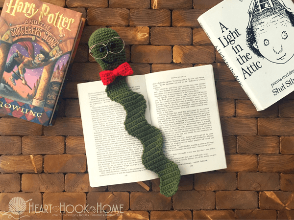 Nerdy Bookworm Bookmark Crochet Pattern by Heart Hook Home