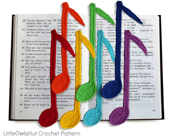 Notes Bookmark Crochet Pattern by Little Owls Hut