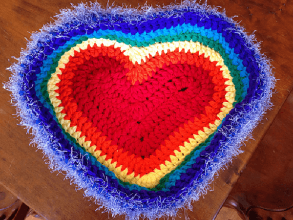 Rainbow Heart Cat Bed Crochet Pattern by Humbug Designs