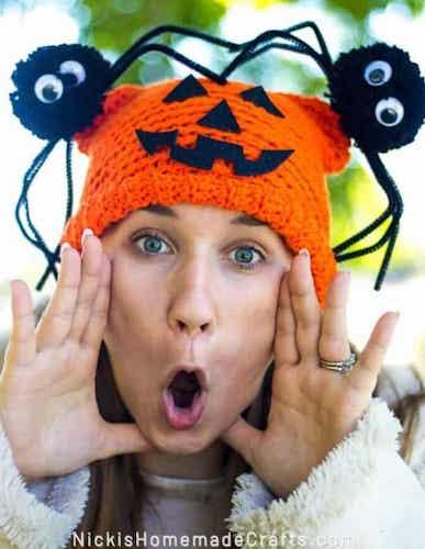 Spider Pumpkin Hat Free Crochet Pattern by Nicki's Homemade Crafts