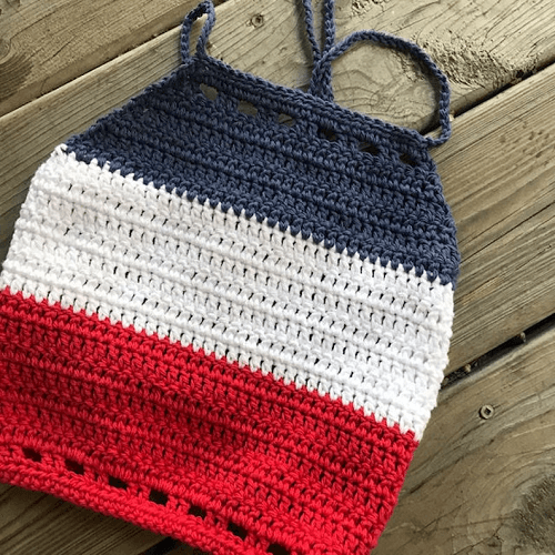 Striped Halter Top Crochet Pattern by Hooked Hazel