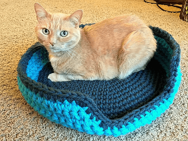Sturdy Cat Bed Crochet Pattern by Lauren Elizabeth