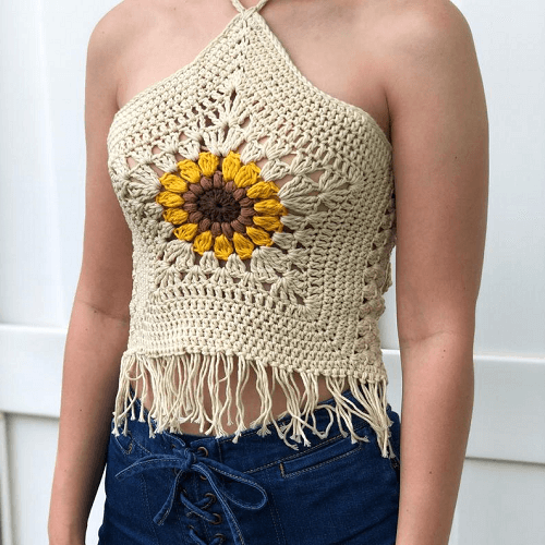 Sunflower Halter Top Crochet Pattern by Evelyn And Peter