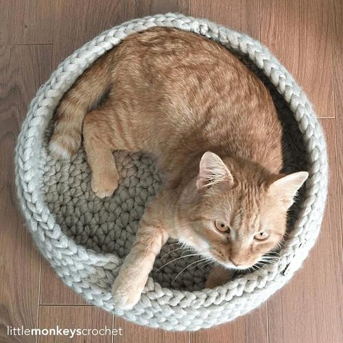 Tabby Chic Cat Bed Crochet Pattern by Little Monkeys Crochet