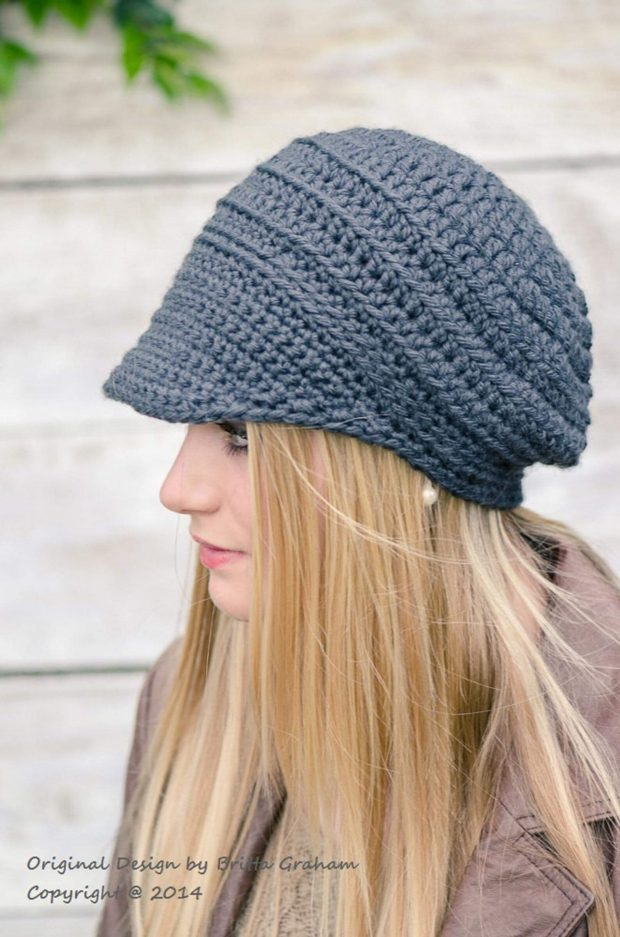 Button-Up Crochet Brimmed Newsboy Hat By bubnutPatterns