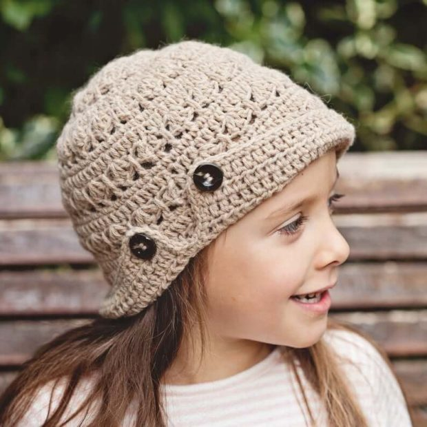Buttoned Brim Hat By monpetitvolon