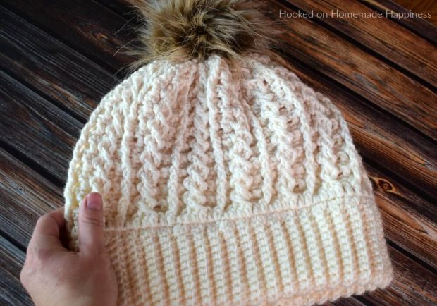 Double Brim Cable Crochet Beanie By Breann of hookedonhomemadehappiness