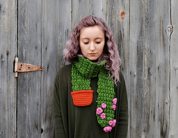 Cactus Scarf Crochet Pattern by Hello Happy