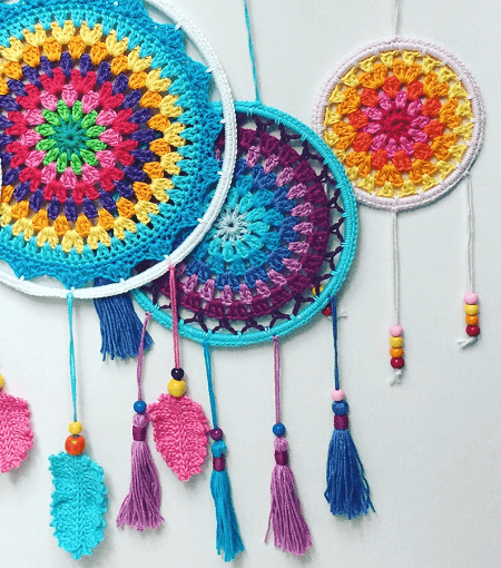 Colorful Dream Catchers Crochet Pattern by Elealinda Design