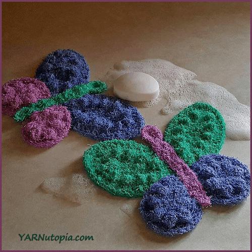 Crochet Butterfly Scrubbies Pattern by Yarnutopia