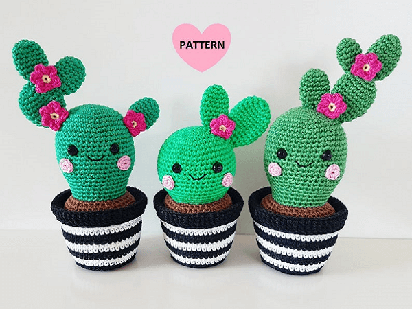 Crochet Cactus Amigurumi Pattern by Super Cute Design Shop