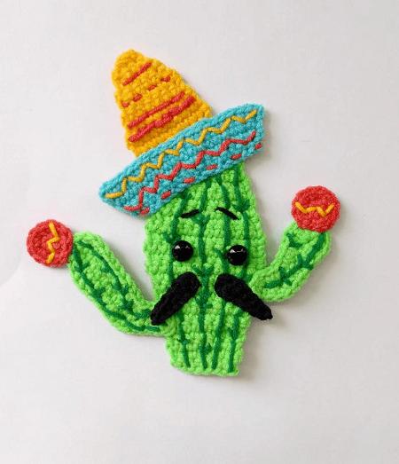 Crochet Cactus Applique Pattern by Fancy Infancy Crochet