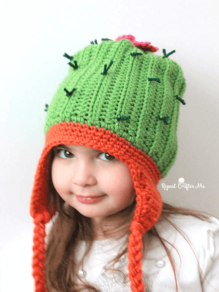 Crochet Cactus Hat Pattern by Repeat Crafter Me